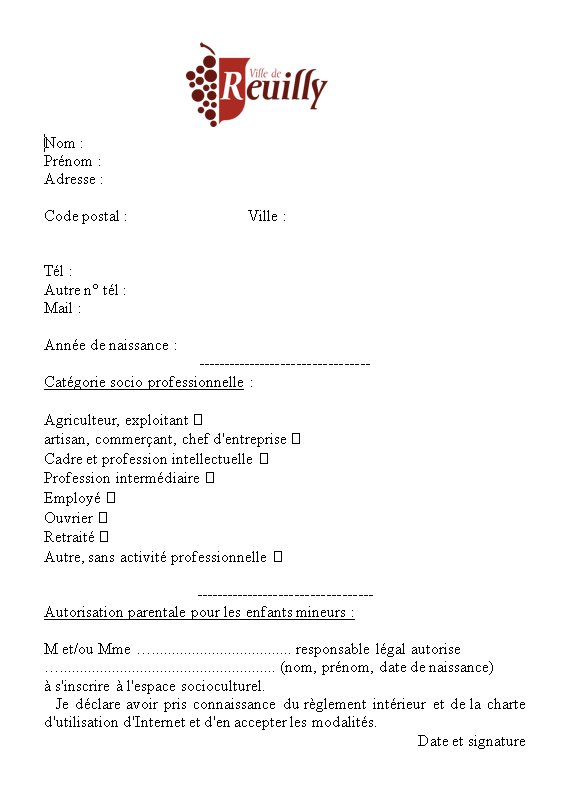 Fiche inscription médiathèque Reuilly